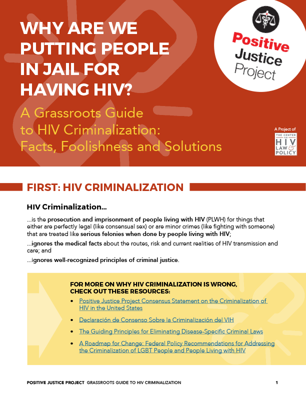 In that spirit, The Center for HIV Law & Policy (CHLP), in collaboration  with the National Center for Lesbian Rights (NCLR), has released this  Grassroots ...